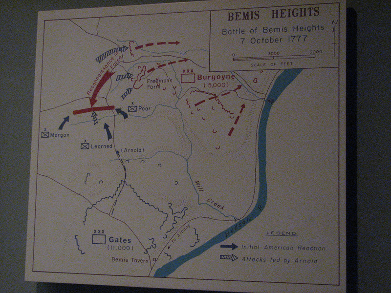Map of the Battle of Bemis Heights, where Arnold showed his gallantry in leading troops, and where he was severely wounded