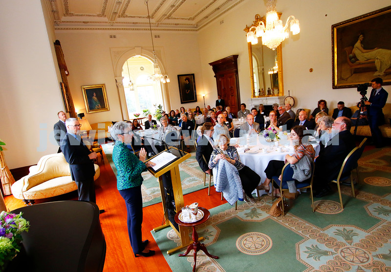 29-3-18. Morning tea at Government House. It was the first time that Melbourne's Holocaust survivors and The Jewish Holocaust Centre had been invited to meet the Governor of Victoria, with Governor Linda Dessau making sure she took the time to meet and talk with many of the survivors. Photo: Peter Haskin