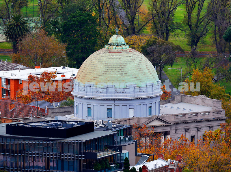 Room with a view. After Shavuot, it was time to reflect on G-d giving the Torah to the Jewish people. The iconic dome and magen david of Toorak Shul, seen from high above St Kilda Rd on an cool Autumn day. Photo: Peter Haskin