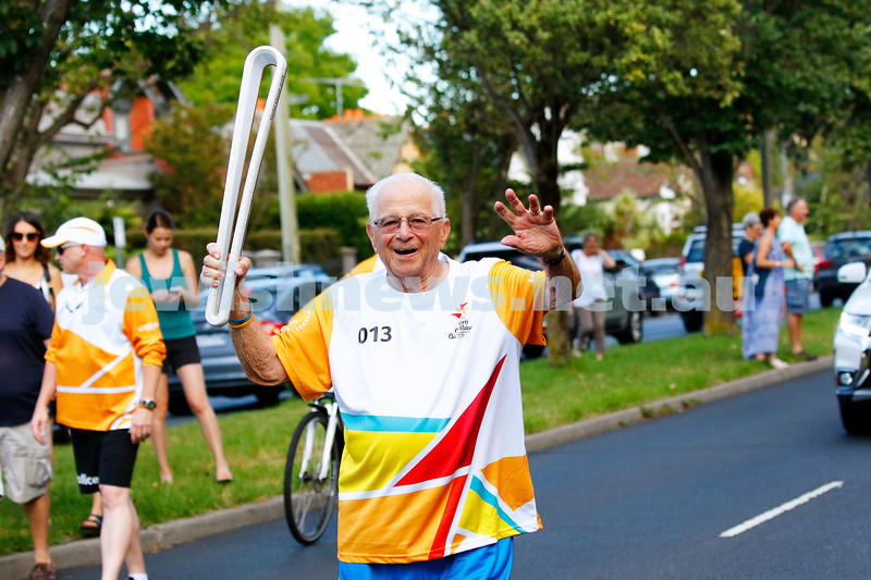 10-2-18. With the arrival of the Queen's Baton relay for this years Gold Coast Commonwealth Games, 91 year old Peter Curtis was lucky number thirteen to carry the baton here in Victoria. Photo: Peter Haskin