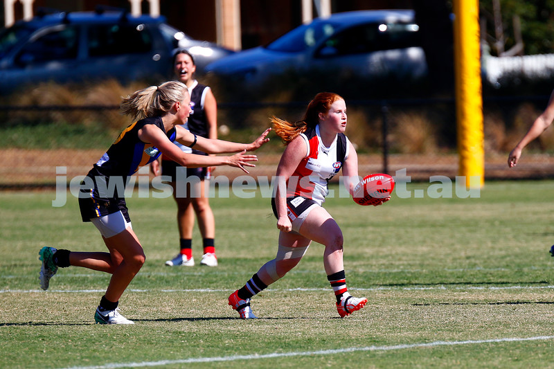 7-4-18. Round 1 at Princes Park.  Jackettes defeated Old Carey. 5.3-34 to 0.8-8. Chelsea Fisher. Photo: Peter Haskin