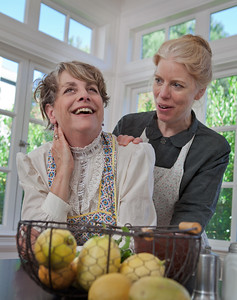 L-R   JoAnne Winter and Stephanie Hunt as the Liberty sisters.  The LIberty sisters plot the making of the  Sunshine Cake.Photo credit:  Mark LeialohaWord for Word's 20th Anniversary production In Friendship, A comedy of American manners by Zona Gale.