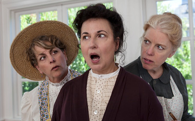 L-R   JoAnne Winter, Jeri Lynn Cohen, and Stephanie Hunt as Viny Liberty, Calliope Marsh, and Libbie Liberty.Calliope persuades the Liberty sisters to join her Thanksgiving scheme.Photo credit:  Mark Leialoha    Word for Word's 20th Anniversary production In Friendship, A comedy of American manners by Zona Gale.