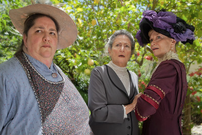 L-R  Amy Kossow, Patricia Silver, and Nancy Shelby as Mrs Toplady, Mrs. Mayor Uppers and Mrs. Postmaster Sykes. The ladies are scandalized. Photo credit:  Mark Leialoha    Word for Word's 20th Anniversary production In Friendship, A comedy of American manners by Zona Gale.