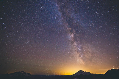 The Milky Way Galaxy displayed above Mount Baker as seen from North Cascades National Park.