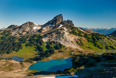 Black Tusk Mountain, Black Tusk Lake, Helm Lakes, and Helm Meadows in Garibaldi Provincial Park, British Columbia, Canada.