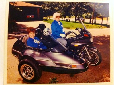 1994 Ivaline with daughter in sidecar