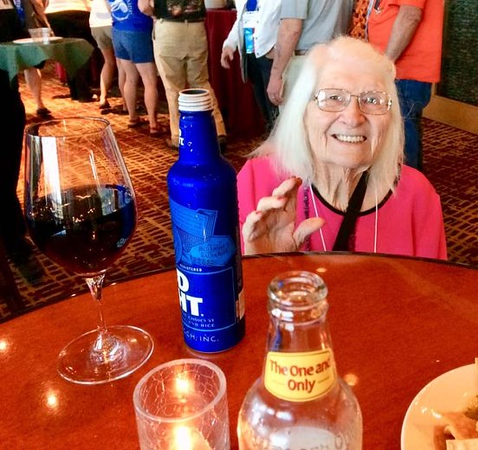 July 2019 Temecula, CA Convention Ivaline with a glass of wine