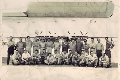 R to L (5th person) Jim Pixton in the Air Force around 1950. The flying Wing is in the background.