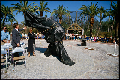Unveiling the Manatee statue at the opening  of Lowry Park Zoo in Tampa, Florida