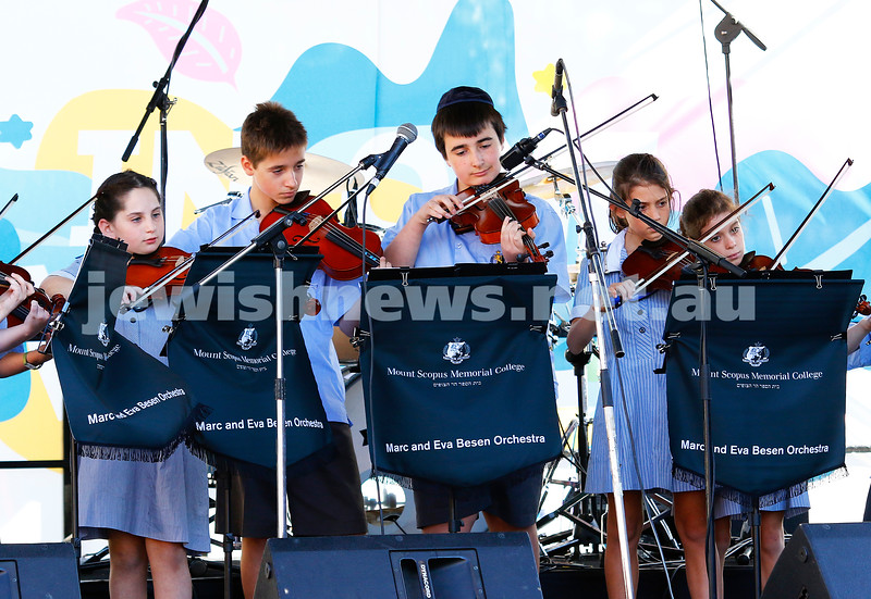 17-3-18. In One Voice street festival, Elsternwick. Mount Scopus orchestra. Photo: Peter Haskin