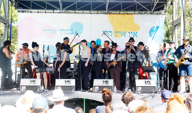 17-3-18. In One Voice street festival, Elsternwick. A stage full of YID!. Photo: Peter Haskin