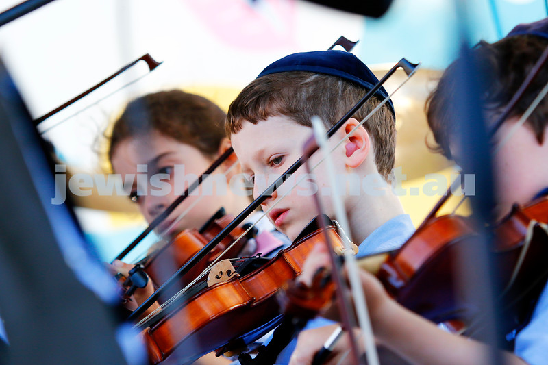 Young violinists from the Mount Scopus orchestra.