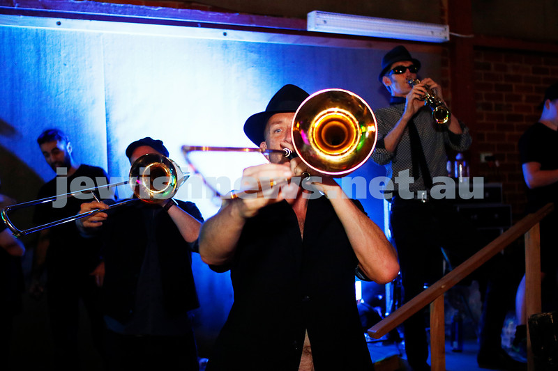 17-3-18. In One Night Concert, Elsternwick. The YID! horn section. Photo: Peter Haskin