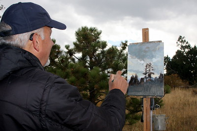Blair Hamill, Artist, at work at Mt. Falcon