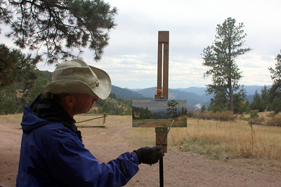 Scott Lines, Artist,  Finishing Touches, at Mt. Falcon