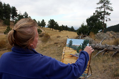 Jeannette Stutzman, Artist,  at her work, Mt. Falcon
