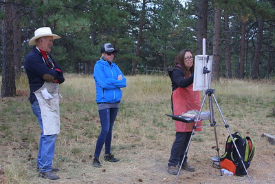 Fans, Sabrina Stiles at her easel, Mt. Falcon