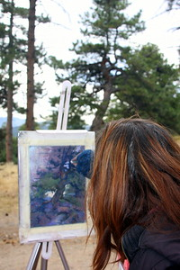 Sabrina Stiles, Artist, at work at Mt. Falcon