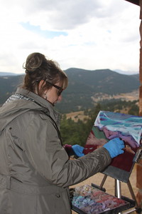 Shelley Howard, Artist, at work at Mt. Falcon
