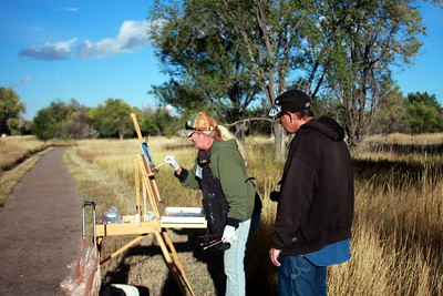 Debra Jeffry at her easel, Crown Hill Park