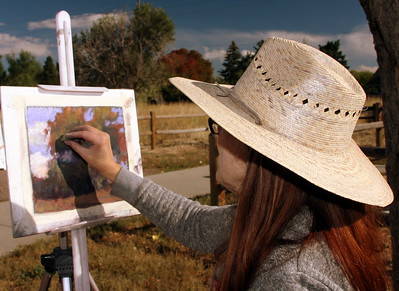 Sabrina Stiles at her easel, Crown Hill Park