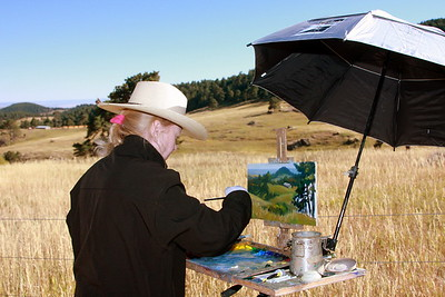 Karin Toppel at her easel, White Ranch