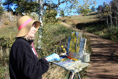 Cheryl St. John at her easel, White Ranch