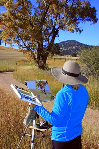 Anita Winter at her easel, White Ranch