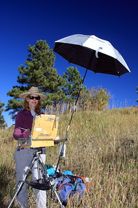 Deborah McAllister at her easel, White Ranch