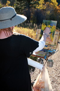 Jeannette Stutzman at her easel, White Ranch