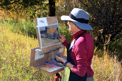 Clare Scott among the aspens, White Ranch