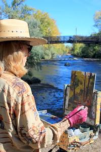 The Artist Deborah McAllister at her easel, Clear Creek