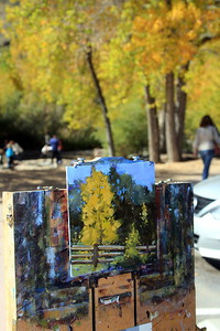 The easel of the Artist Cliff Austin, Clear Creek