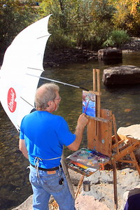 David Mongomery, Artist, at his easel, Clear Creek