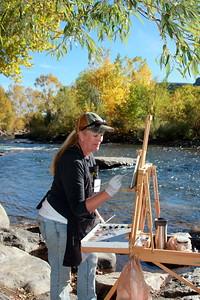 Debra Jeffry, Artist, at her easel