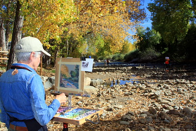 Clare Scott at her easel, Clear Creek