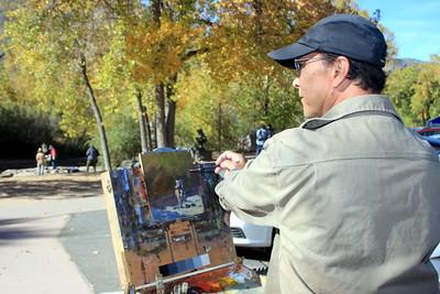 Cliff Austin, Artist, at his easel, Clear Creek