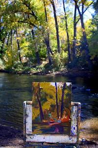 The easel of the Artist Deborah McAllister