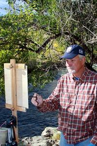 Blair Hamill, Artist, at his easel, Clear Creek