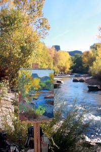 The easel of Artist Blair Hamill, Clear Creek