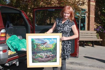 Gina Blickenstaff, Artist, with her work, Clear Creek #1
