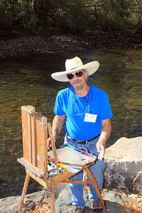 David Montgomery, Artist, at his easel, Clear Creek