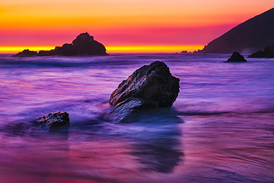 Pfeiffer Beach Sunset - 8x12 Metal Print $70