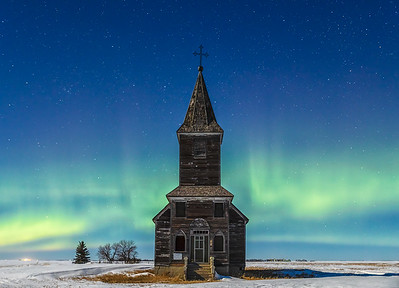 Winter Moonlit Aurora 12x18 Metal Print $125