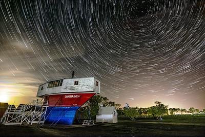 Sukanen Ship Star Trails - 8x12 Metal Print $70