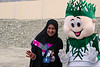 Nahed with Morjan the mascot of the Fujairah Municipality's Environmental Protection Section