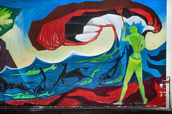 Voormalige HBS Zuideinde Meppel. Muurschildering Haanstra aula. Foto: Wim Goedhart