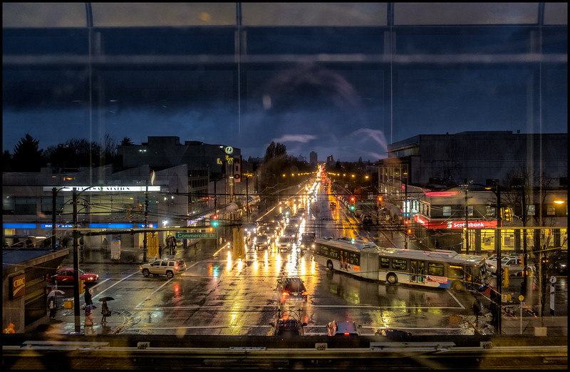 view from upper platform at Broadway and Victoria skytrain station