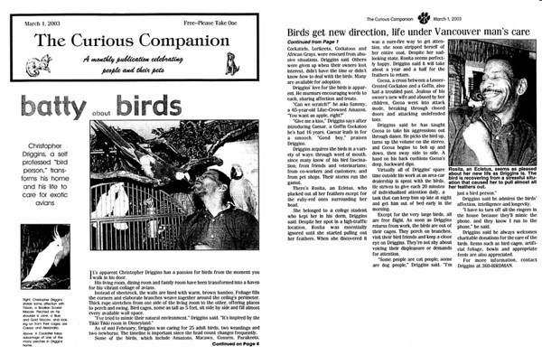 """2003 In the News Article """"Batty about Birds"""""""